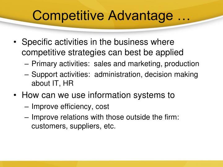 Competitive Advantage …