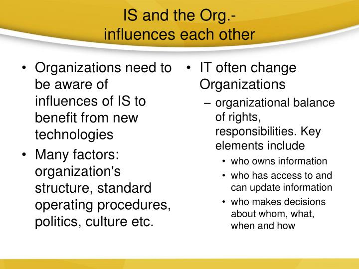 IS and the Org.-