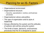 planning for an is factors