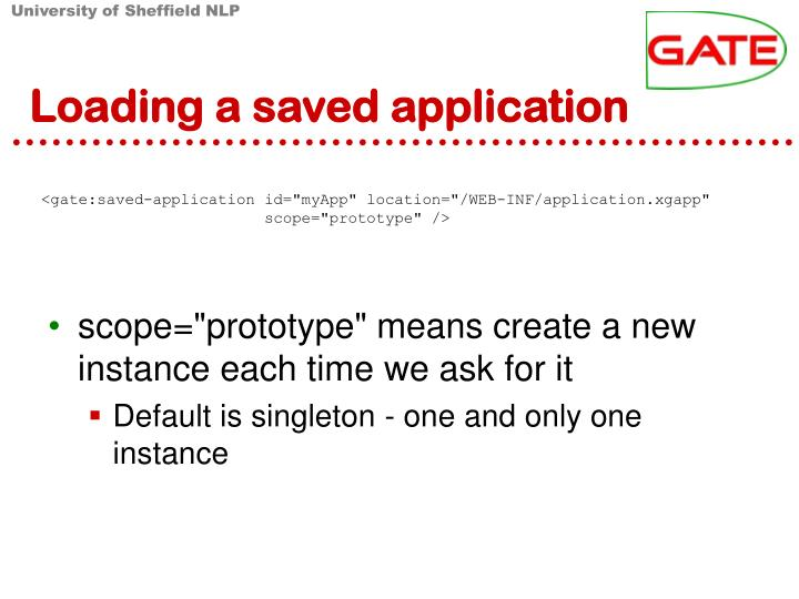 Loading a saved application