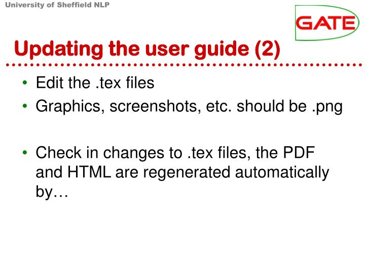 Updating the user guide (2)