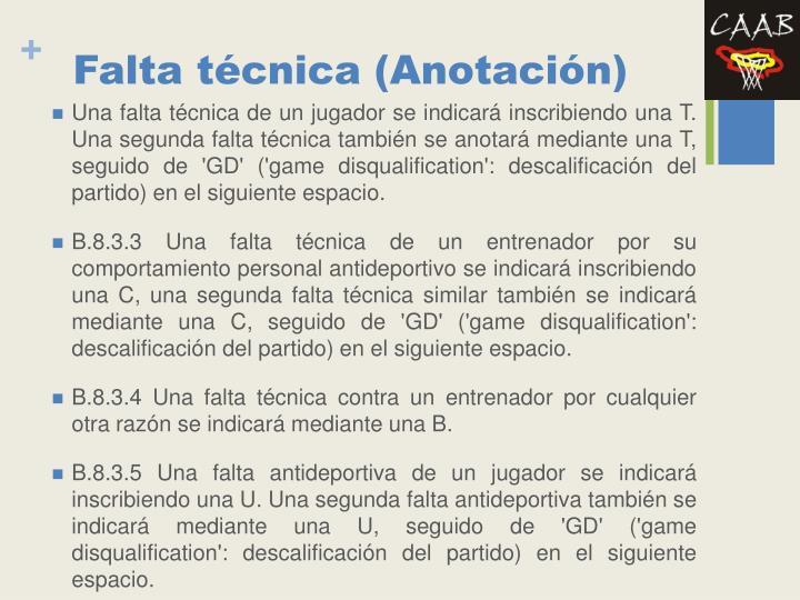 Falta técnica (Anotación)