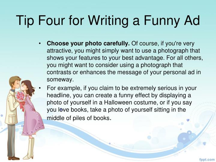Tip Four for Writing a Funny Ad