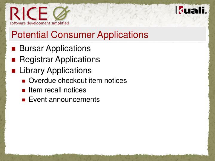 Potential Consumer Applications