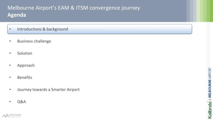 Melbourne airport s eam itsm convergence journey agenda1