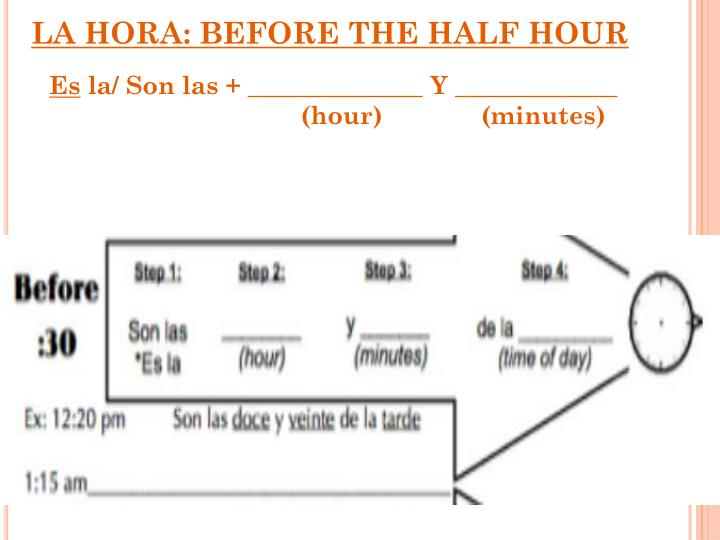 LA HORA: BEFORE THE HALF HOUR