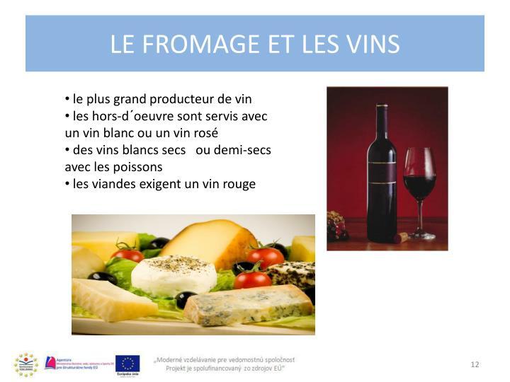 Le fromage et les vins