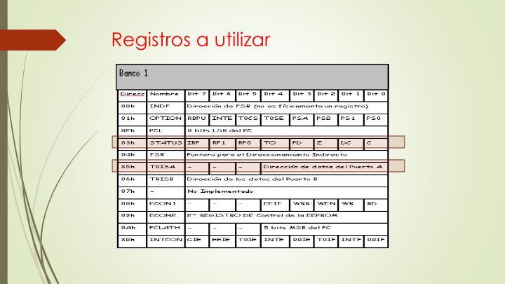 Registros a utilizar