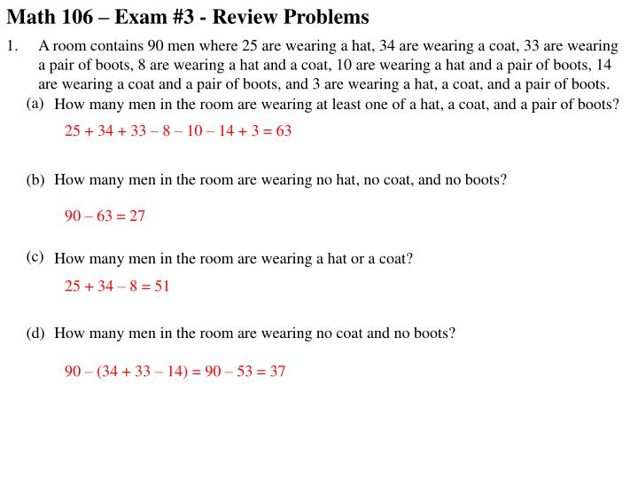 Math 106 – Exam #3 - Review Problems