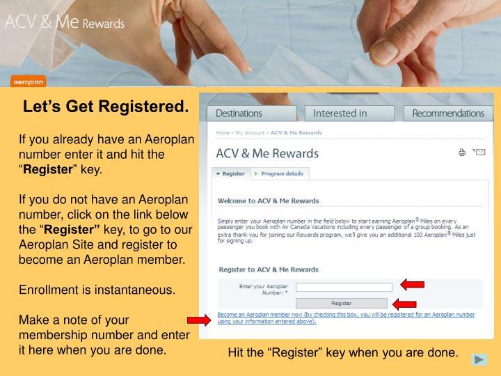 Let's Get Registered.