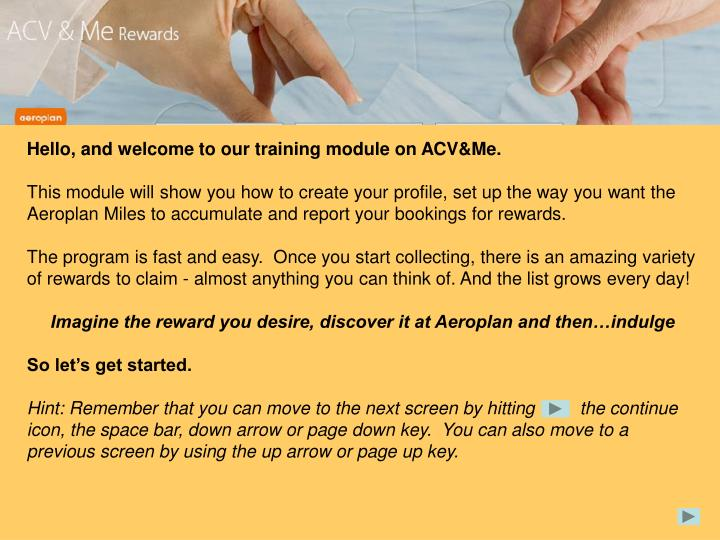 Hello, and welcome to our training module on ACV&Me.