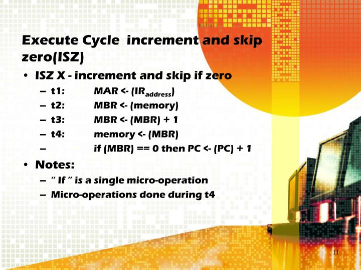 Execute Cycle  increment and skip zero(ISZ)