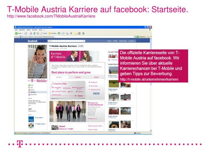 T-Mobile Austria Karriere auf facebook: Startseite.