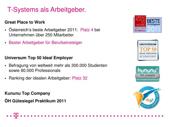 T-Systems als Arbeitgeber.