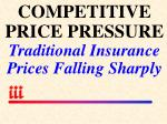 competitive price pressure traditional insurance prices falling sharply