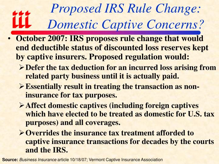 Proposed IRS Rule Change: Domestic Captive Concerns?