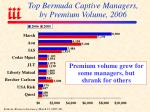 top bermuda captive managers by premium volume 2006