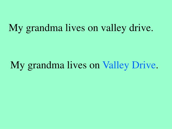 My grandma lives on valley drive.