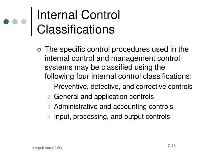 Internal Control Classifications