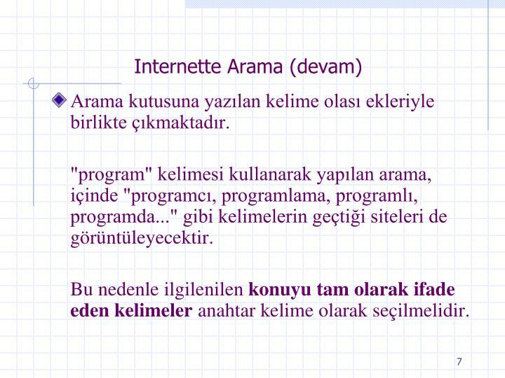 Internette Arama (devam)