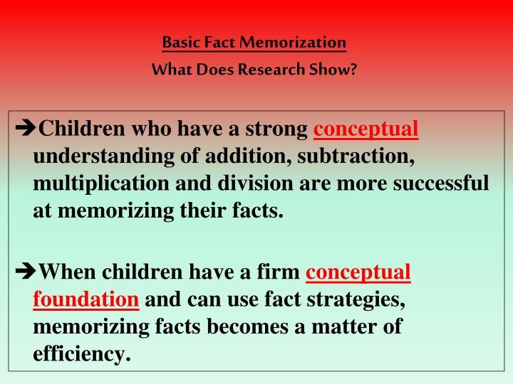 Basic Fact Memorization