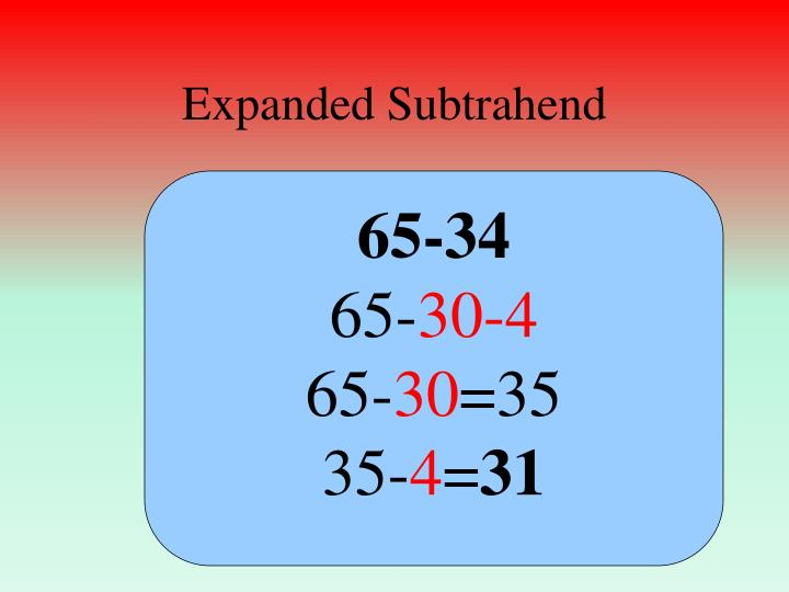 Expanded Subtrahend