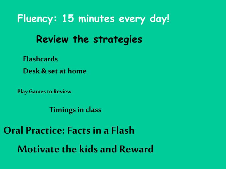 Fluency: 15 minutes every day!