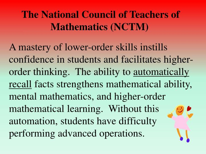 The National Council of Teachers of Mathematics (NCTM)