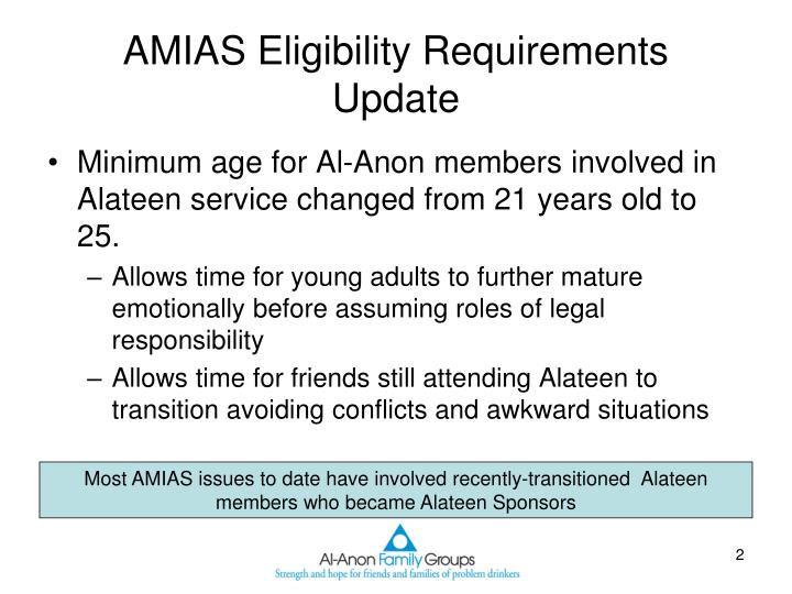 AMIAS Eligibility Requirements