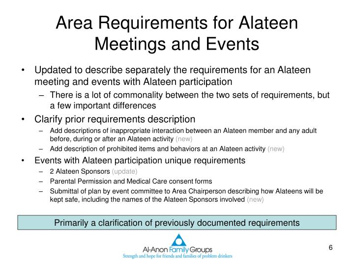 Area Requirements for Alateen Meetings and Events