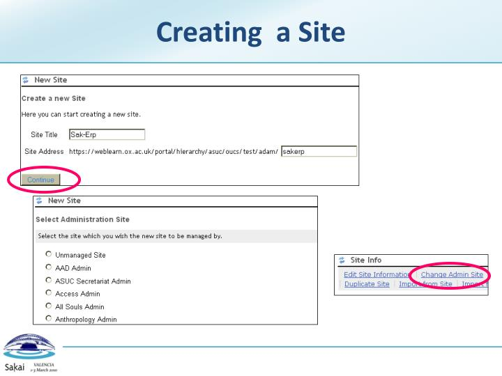Creating  a Site