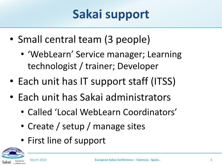 Sakai support