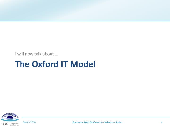 The Oxford IT Model