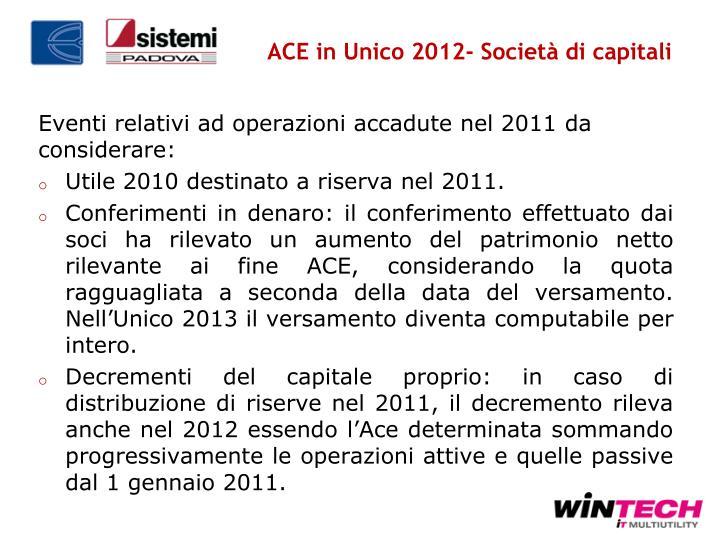 ACE in Unico 2012- Società di capitali