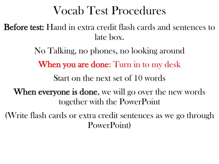 Vocab Test Procedures
