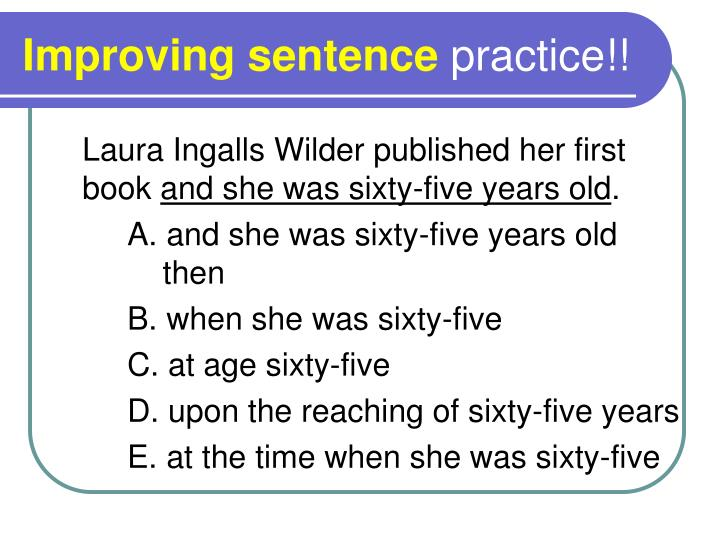 Improving sentence