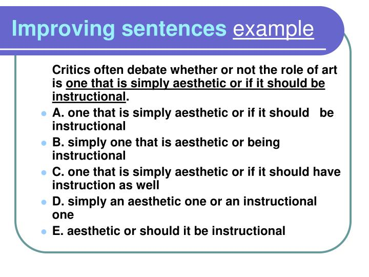 Improving sentences example
