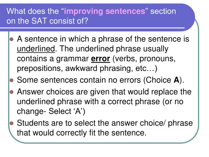 What does the improving sentences section on the sat consist of
