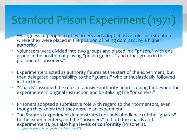 stanford prison experiment and obedience Yale university psychologist stanley milgram's obedience to authority  what is special about the the stanford prison experiment movie is the way it enables.