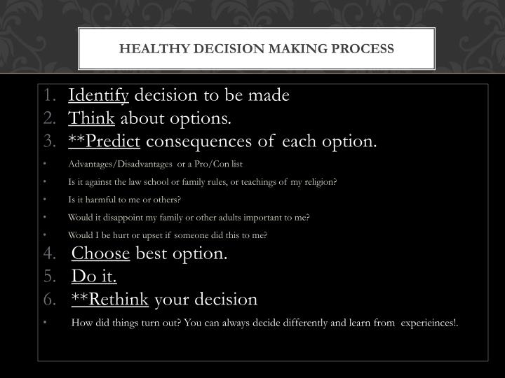 Healthy Decision Making Process