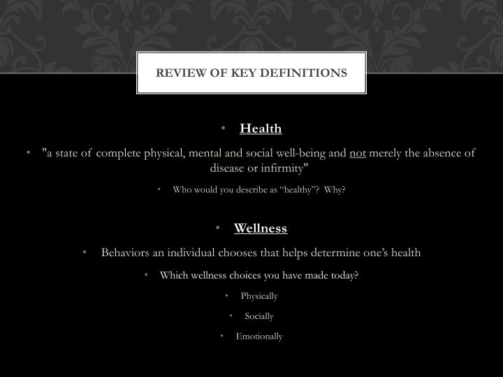Review of key definitions