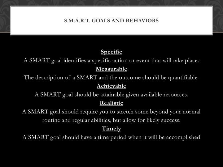 S.m.a.r.t. Goals and behaviors