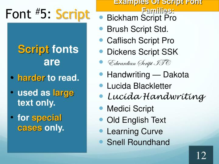 Examples Of Script Font Families: