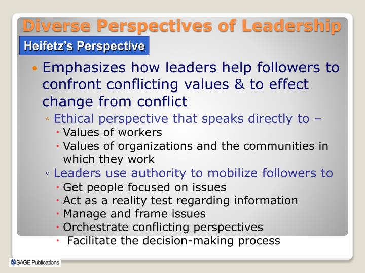 Emphasizes how leaders help followers to confront conflicting values & to effect change from conflict