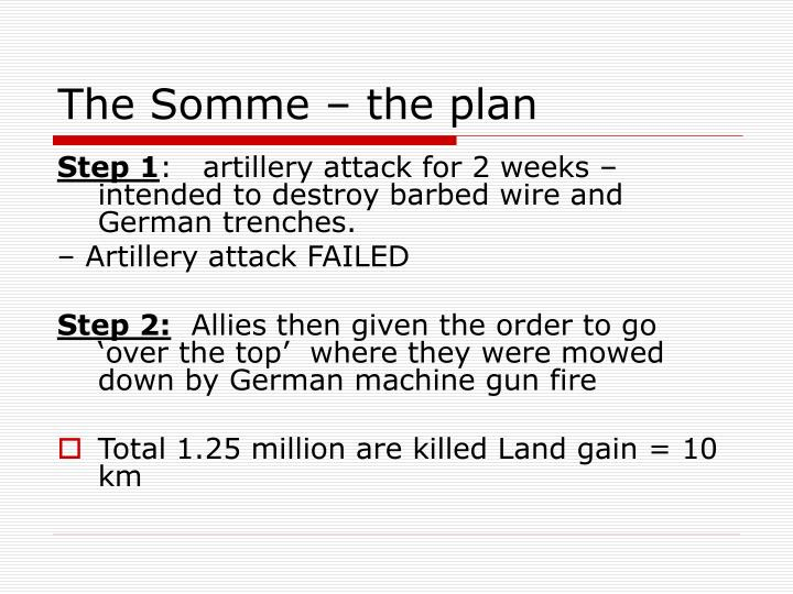 The Somme – the plan