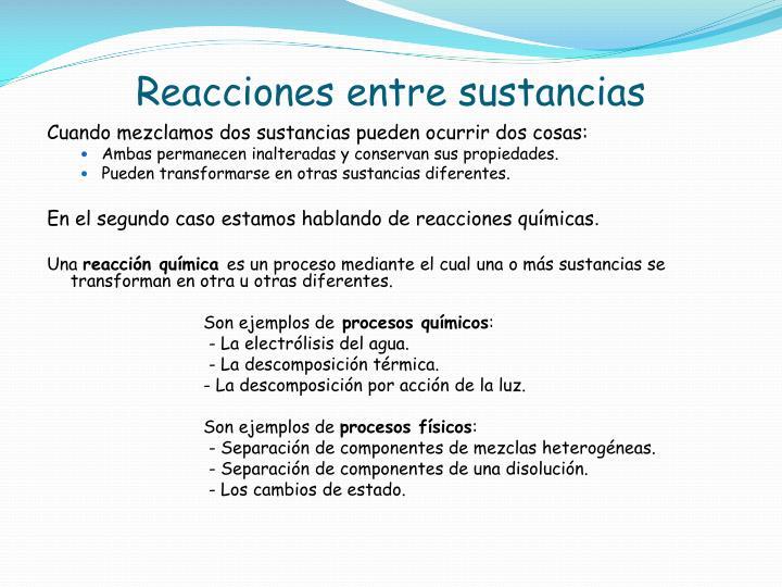 Reacciones entre sustancias