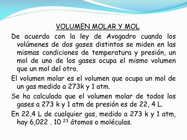 VOLUMEN MOLAR Y MOL
