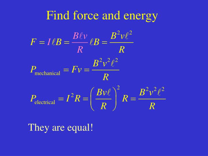 Find force and energy