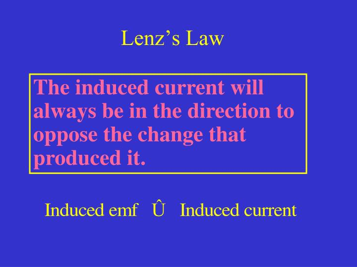 The induced current will always be in the direction to oppose the change that produced it.
