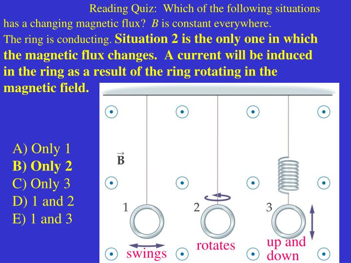 Reading Quiz:  Which of the following situations has a changing magnetic flux?